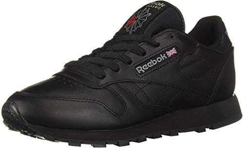 Reebok Men's Classic Leather Casual Sneakers, Black, 12 M