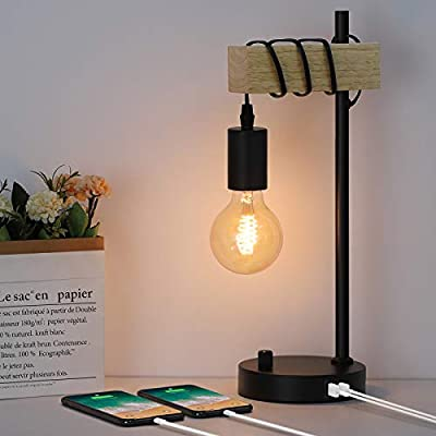 Industrial Table Lamp, Bedside Nightstand Lamp with 2 USB Charging Ports, Vintage Desk Lamp with Solid Wood for Bedroom Living Room Office