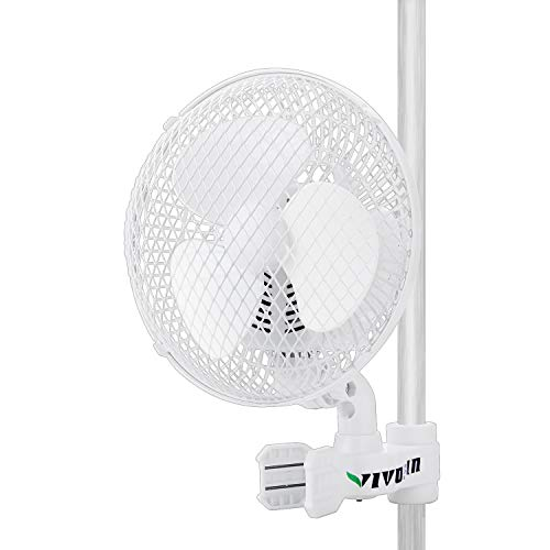 VIVOSUN Patented 6 Inch Clip on Oscillating Fan Fit for 0.59 to 1 Inch Grow Tent Pole with 2-Speed Control