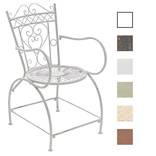 Chaise de Jardin en Fer Forgé Sheela - Design Romantique avec Dossier Accoudoirs et Repose-Pieds - Chaise de Terrasse en Fer avec de Belles, Couleurs:Antique Blanc
