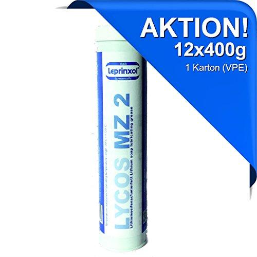 Leprinxol  12x LYCOS MZ 2 Lithium MEHRZWECKFETT KARTUSCHE 400g für hochwertige Langzeitschmierung im Kfz-Bereich. Speziell für Handhebelfettpressen und Nippelschmierung. Wälz- und Gleitlagerfett.