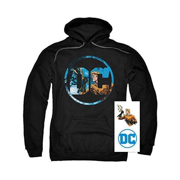 DC Comics Logo Pullover Hoodie Sweatshirt & Stickers