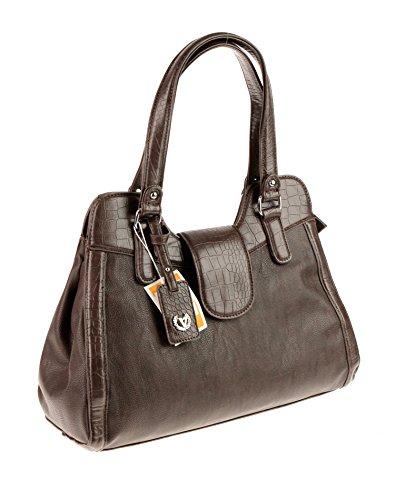 Made Italy Valleverde Tasche Schultertasche Umhängetasche Bag Leder-Optik 40x29x15 cm (B:H:T) VV81 (T.Moro)