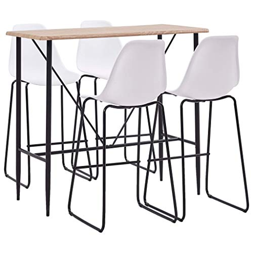 Tidyard 5 Piece Bar Set Plastic White Bar table Bistro Breakfast Dining Table and Chairs