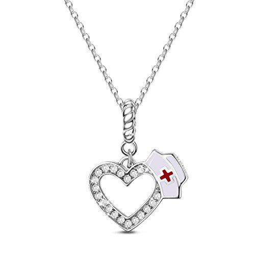 TINYSAND Colgante/Collar con Corona de Corazón de Enfermera de para Mujer en Plata de Ley 925 Chapado en Platino Colgante/Collar con Dijes, Regalo para Collares/Pulseras Europeas