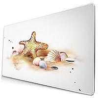 マウスパッド 大型 ゲーミング キーボードパッド 水彩画 海星 貝殻 海 ゴム底 光学マウス ゲーム 特大 40cm×75cm 滑り止め エレコム 耐久性が良い おしゃれ かわいい 防水 サイバーカフェ オフィス最適 適度な表面摩擦