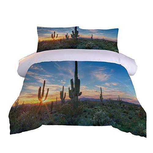 BHFCBD Bedding 260X240Cm- Sunrise Desert Landscape Duvet Cover Set 3 Pieces Microfiber 3D Printed Hypoallergenic Quilt Bedding With 2 Pillowcase For Kids Girls Boys - Wrinkle And Fade Resistant