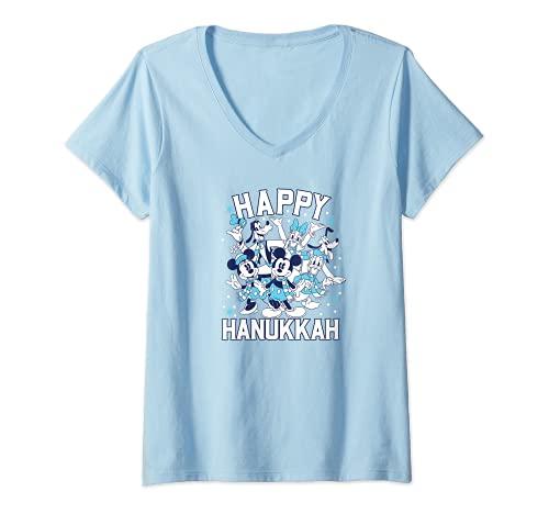 Womens Disney Happy Hanukkah from Mickey and Friends V-Neck T-Shirt
