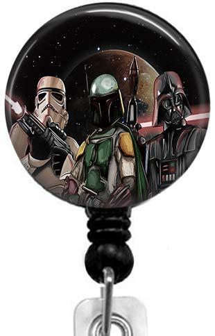 Star Wars Darth Vader Badge Reel,Retractable Name Card Badge Holder with Alligator Clip, Medical MD RN Nurse Badge ID, Badge Holder
