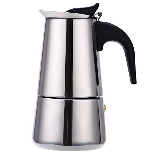lixiaolin Uso doméstico portátil Acero Inoxidable Moka Espresso Latte Percolador Estufa Cafetera Olla Estufa Cafetera Herramienta para beber-100ml 2cups