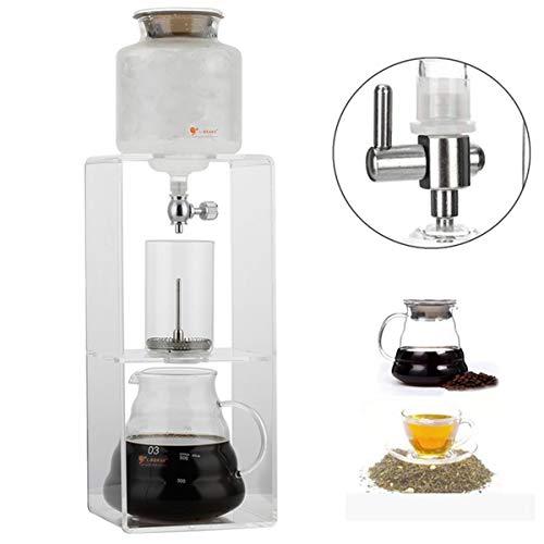 Vidrio frío goteo de agua por goteo Cafetera, filtro reutilizable de cristal del café express de Gotero Pot Ice Cold Brew Cafetera, Apto para café y té, transparente, 900ml