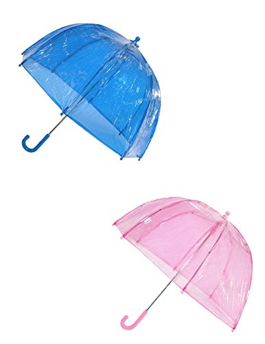 Totes Kids' Clear Bubble Umbrella (Pack of 2), Pink/Blue
