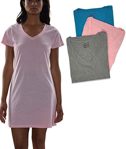 Sexy Basics Women's Cotton Soft V-Neck Sleep Shirt/Night Shirt -Pack of 3 (3 Pack- PastelPink/Grey/Tahiti Blue, Small)