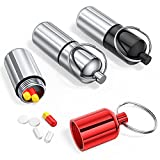 3 Pack Mini Keychain Pill Holder, Portable Small Pill Box Bottle for Purse, Waterproof Pocket Pill Case EDC Medicine Container Nitro Pill Fob Carrier for Outdoor Travel Camping