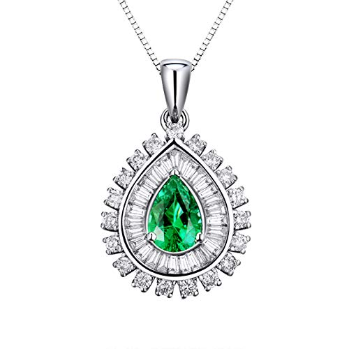 Aartoil 18K White Gold Pendant Necklaces for Women Flower Shape 1.37CT Diamond With 0.93CT Pear Shape Emerald Necklace (Emerald: 0.93ct/1pcs)