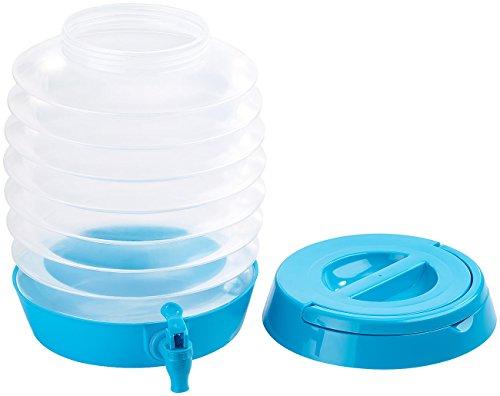 PEARL Wasserkanister: Faltbares Fässchen, Auslaufhahn, Ständer, 7,5 Liter, blau/transparent (Faltbares Fass)
