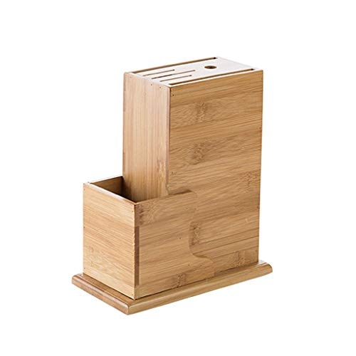 fevilady Soporte para cuchillos de madera con soporte para cuchillos, soporte para cuchillos, organizador oculto, accesorio de cocina, soporte de bambú (color bambú)