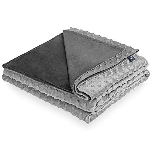 """Bare Home Duvet Cover for Weighted Blanket (40""""x60"""") Blanket Cover Youth Size, Ultra-Soft Minky Removable and Washable, Circle Pattern (Grey/Light Grey)"""
