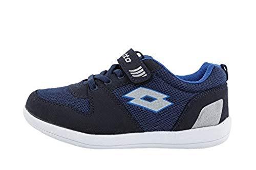 Lotto Quaranta IV CL S, Zapatillas de Tenis Unisex niños, Azul/Plateado (Nvy Dk/Slv MT), 27