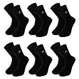 EB Prime Calcetines de Algodón para Hombre y Mujer, 6 Pares, Tamaño EU 39-42, Negro, Fabricado en la Europe.