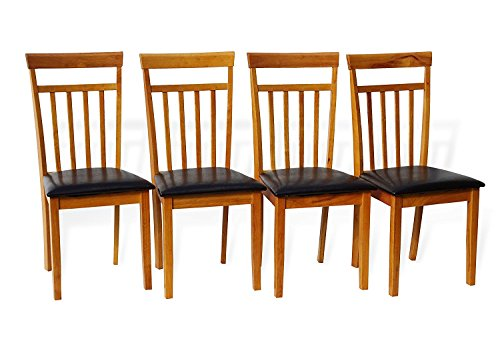 Set of 4 Dining Kitchen Side Chairs Warm Solid Wooden in Maple Finish Padded Seat