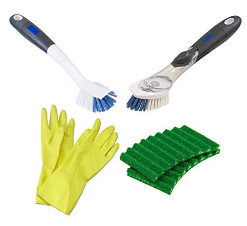 Scrubber Sponge|Heavy Duty Sink Bathroom Brushes|Good Grip Handles|Cleaning Pads|Gloves|Dish Wand