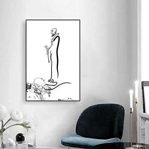 Lienzo Arte Monje Pintura Budista Art Deco Carteles e impresiones Arte de la pared Imagen Zen para sala de estar Decoración clásica para el hogar 60x90cm Sin marco