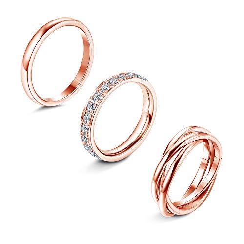 YADOCA 3PCS Engagement Ring Set Cubic Zirconia Triple Interlocked Rolling Plain Dome Eternity Wedding Band Anniversary Stacking Wedding Rings Jewellery Size 4-12