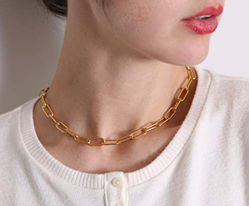 18K Gold Plated Paperclip Necklace – Delicate Gold Choker – Chain Necklace for Women – Beautiful and Stylish Gold Link Necklace – Gold Vacuum Plating for Long-Lasting Use – 16-inch Necklace
