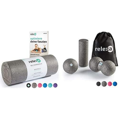 relexa Faszien Bundle: 2in1 Faszienrolle und Faszienrolle klein, Faszienball, Twinball Massageball für Muskeln, Bindegewebe und Training