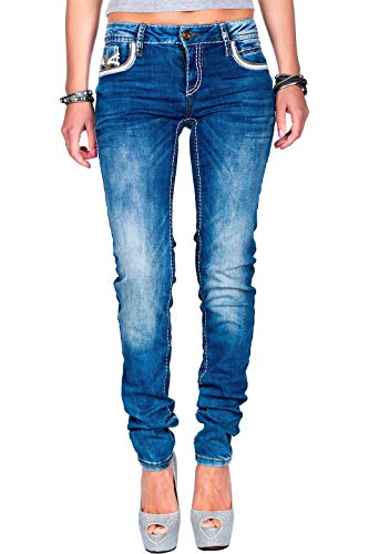 Cipo & Baxx Damen Jeans WD343-bans Blau W26/L32