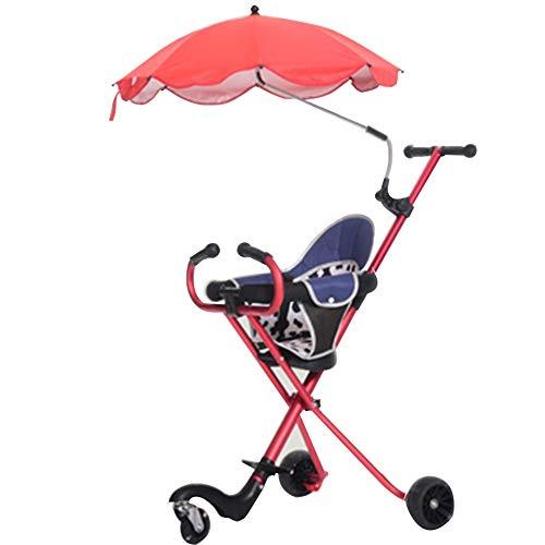 YumEIGE driewieler kinderen driewieler opvouwbare driewieler gladde anti-rollover geschikt voor 1-7 jaar oude lichte trike met parasol (kleur: rood)