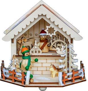 yanka-style Candeliere di Natale mercato stand rivenditore con LED–Illuminazione in legno ca. 15x 14x 13cm decorazione natalizia (93230s)