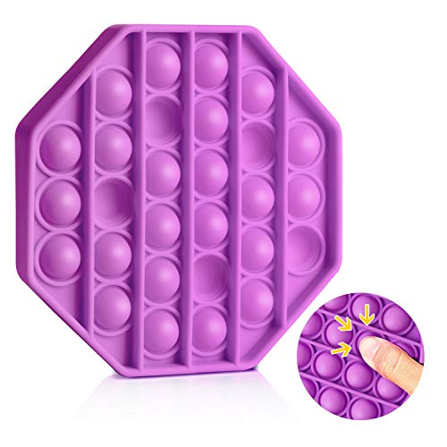 VCOSTORE Push Bubble Fidget Toy, Silicone Bubble Wrap Toy Push Fidget Sensory Toy, Stress and Anxiety Relief Toys for Kids Adults (Round,Purple)