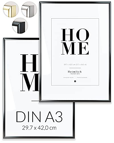 Heimlich Paquete Doble (2 pcs.) Marcos de Aluminio - con plexiglás inastillable - DIN A3 (30x42cm) Negro