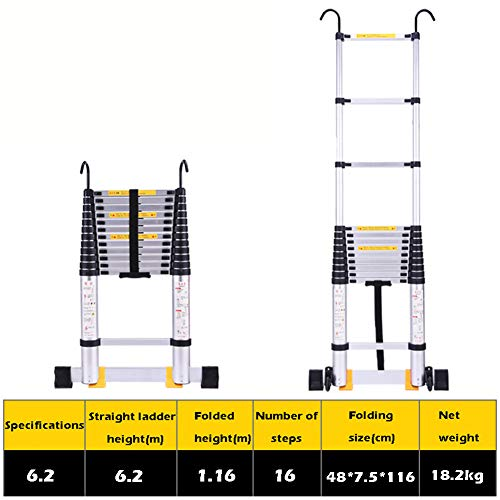 6.2M | 20ft Telescopic Aluminium Extension Ladder with Hook, Portable Extendable DIY Folding Straight Ladder for Home Loft Office Engineering Household