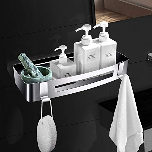 ZOYJITU Duschablage Ohne Bohren Duschkorb Selbstklebend Duschregal aus Edelstahl für Badezimmer,mit 2 Haken Badregal Ablage Dusche für Bad