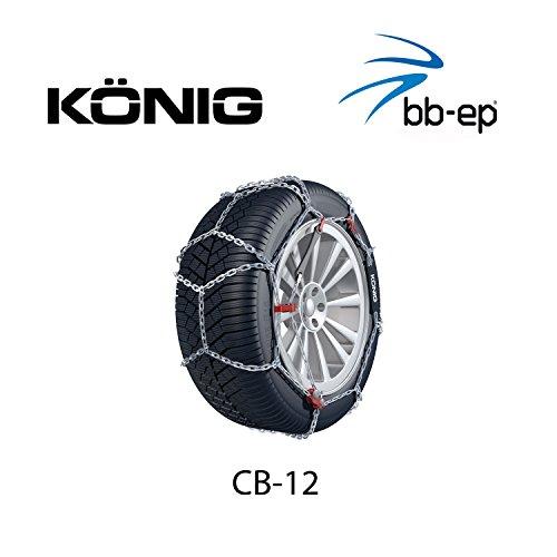 Schneekette König CB-12 PKW für die Reifengröße 205/60 R16 Preis-Leistungs-Sieger (1 Satz - 2 Stück Schneeketten) im Set mit hochwertigen Handschuhen