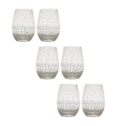 LORENZON Juego de mesa de 6 vasos de agua de cristal con lunares blancos