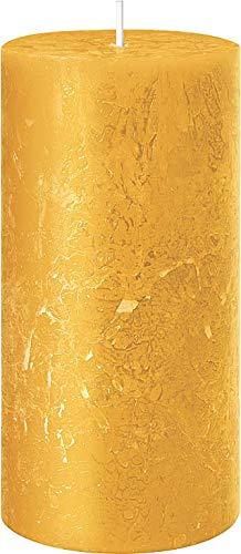 safe candle® Candela autoestinguente RUSTIC, 4 pezzi, altezza 11 cm / Ø 6 cm, tempo di combustione 38 ore (Senape)