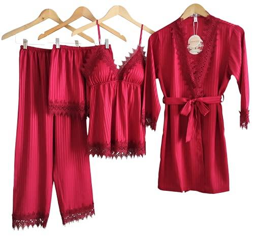 Laura Lily - Pijama Mujer de Seda Satén a Rayas Color Liso con Encaje Conjunto de 4 Piezas (Rojo, S-M)