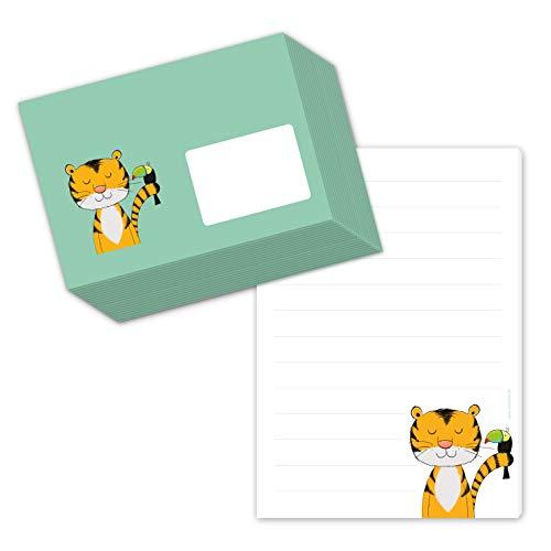 Juego de papel de carta para niños 'Tiger Theobalt' DIN A5, bloc de cartas a rayas con 50 hojas, incluye 20 sobres a juego, papel escolar, papel de carta para niños con líneas