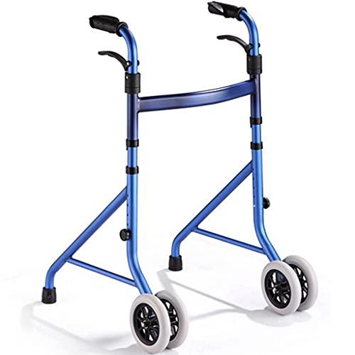 Andaderas Andador de Viaje Ligero Plegable de 2 Ruedas para Personas Mayores con Ruedas fijas Marco para Caminar de rehabilitación Ajustable en Altura (Color : Blue, Size : 56×58×81.8cm)