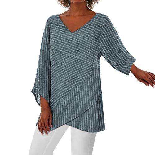 Lazzboy Einfarbige Langarm Mit V-Ausschnitt Für Frauen Hippie Minikleid Tunika, Damen, Kurze Kleider Alternative Bekleidung(Marine,XL)