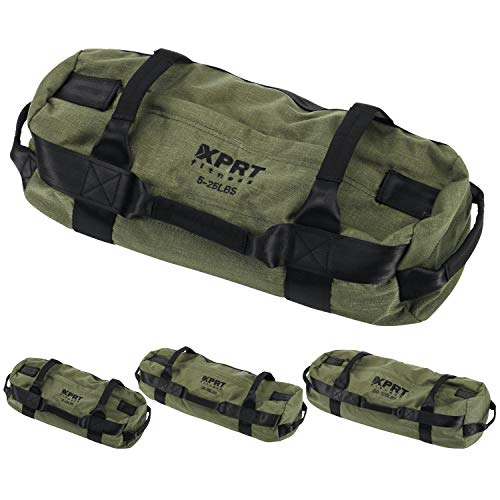 XPRT Fitness Workout Sandbag for Heavy Duty Workout 7 Gripping Handles - Army Green, Large