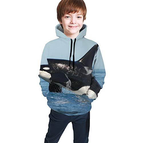 Athletic Pullover Hoodie Hooded Sweatshirt for Teen Girls Boys, Long Sleeves Fit 3D Print Sportswear (Orca Iller Whale Hoodies)