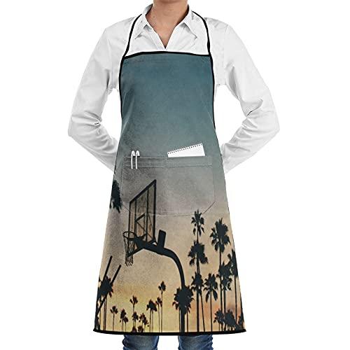 FAKAINU Delantal de cocina,Soporte Baloncesto Amanecer Deportes Silueta Palmera Tropical Afterglow Amanecer Paisaje,Apto para restaurantes, delantales impermeables y antiincrustantes.