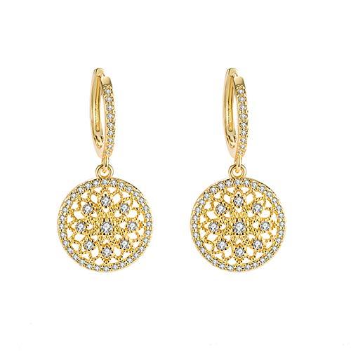 TLBB Pendientes de Lujo 925 Joyas de Plata con Piedras Preciosas de Zircon Accesorios de Pendiente de Gota de Color de Oro para Mujer Regalo de Fiesta de Promesa de Boda