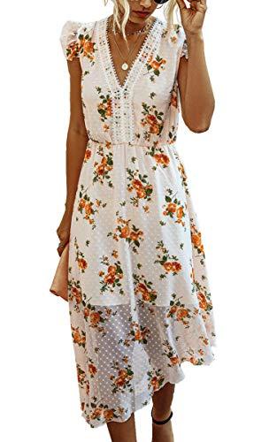 Spec4Y Kleider Damen Lang Blumen Sommer Strandkleider Asymmetrische Rüschen Ärmellos V-Ausschnitt Elegant Partykleid mit Spitze Rosa Medium