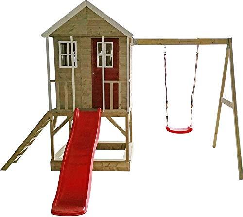 Wendi Toys Kinderspielhaus Alpaka Spielturm Stelzenhaus Baumhaus Holzhaus mit Sandkasten Veranda Schaukel und Rutsche